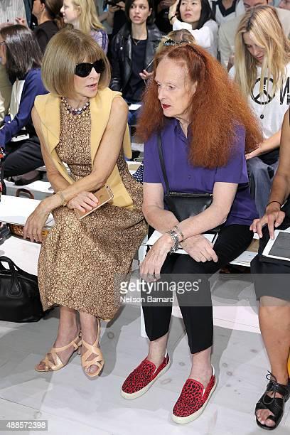 Vogue editorinchief and Condé Nast artistic director Anna Wintour and Vogue creative director Grace Coddington attend the Michael Kors Spring 2016...