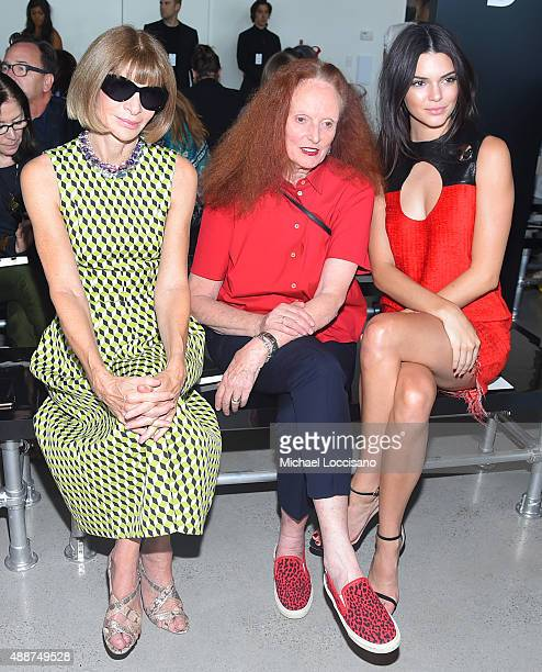 Vogue editorinchief and Conde Nast artistic director Anna Wintour Vogue creative director Grace Coddington and Kendall Jenner attend the Calvin Klein...
