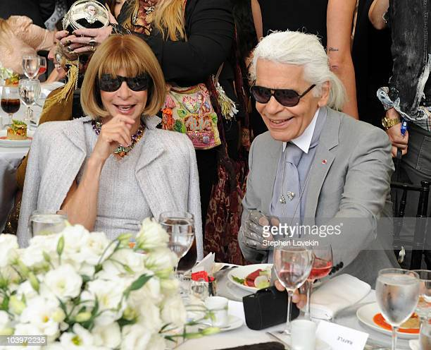 Vogue editorinchief Anna Wintour and designer Karl Lagerfeld attend the FIT Couture Council's Annual Luncheon at Avery Fisher Hall at Lincoln Center...