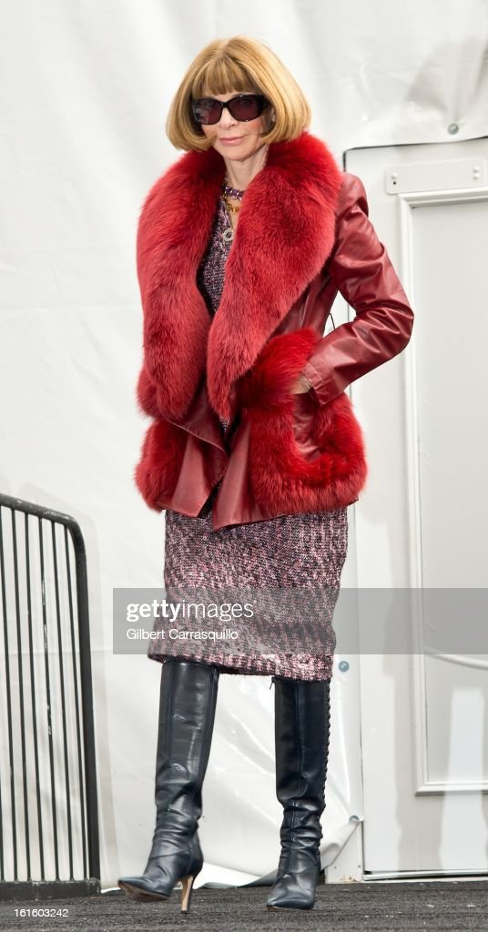 Vogue Editor-in-chief Anna Wintour attends Fall 2013 Mercedes-Benz Fashion Show at The Theater at Lincoln Center on February 12, 2013 in New York City.