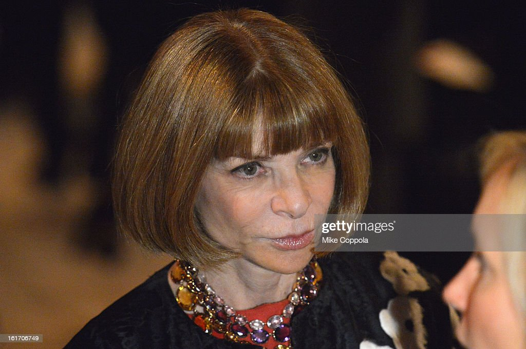 Vogue Editor-in-chief Anna Wintour attends the Calvin Klein Collection Fall 2013 fashion show during Mercedes-Benz Fashion Week at 205 West 39th Street on February 14, 2013 in New York City.