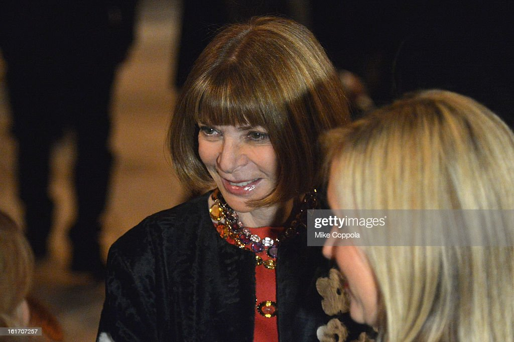 Vogue Editor-in-chief <a gi-track='captionPersonalityLinkClicked' href=/galleries/search?phrase=Anna+Wintour&family=editorial&specificpeople=202210 ng-click='$event.stopPropagation()'>Anna Wintour</a> attends the Calvin Klein Collection Fall 2013 fashion show during Mercedes-Benz Fashion Week at 205 West 39th Street on February 14, 2013 in New York City.