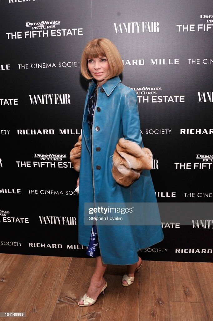 Vogue Editor-in-Chief <a gi-track='captionPersonalityLinkClicked' href=/galleries/search?phrase=Anna+Wintour&family=editorial&specificpeople=202210 ng-click='$event.stopPropagation()'>Anna Wintour</a> attends 'The Fifth Estate' screening hosted by The Cinema Society with Vanity Fair and Richard Mille at Crosby Street Hotel on October 11, 2013 in New York City.