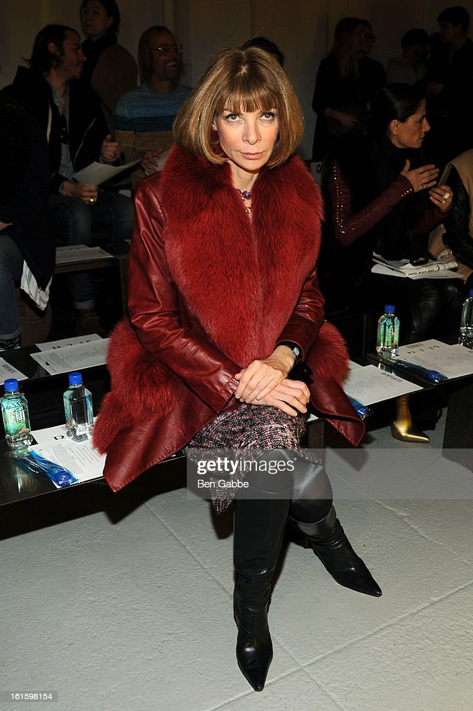 Vogue Editor-in-chief Anna Wintour attends the Rodarte Fall 2013 fashion show during Mercedes-Benz Fashion Week at 548 West 22nd Street on February 12, 2013 in New York City.