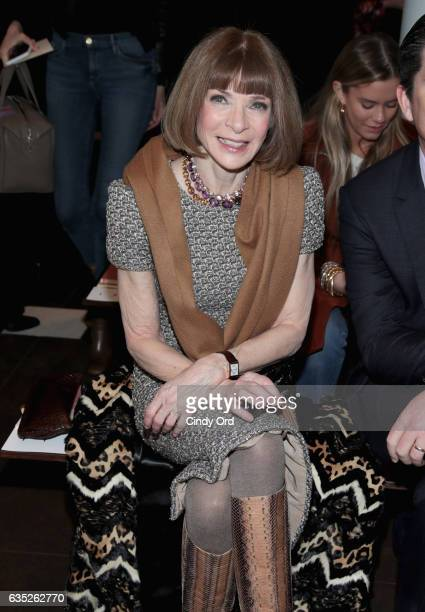 Vogue editorinchief Anna Wintour attends the Tory Burch FW17 Show during New York Fashion Week at the Whitney Museum of American Art on February 14...