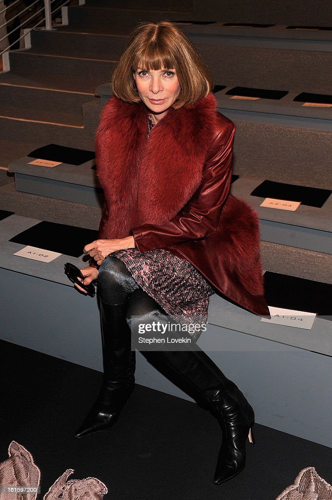 Vogue Editor-in-chief Anna Wintour attends the Vera Wang Fall 2013 fashion show during Mercedes-Benz Fashion Week at The Stage at Lincoln Center on February 12, 2013 in New York City.