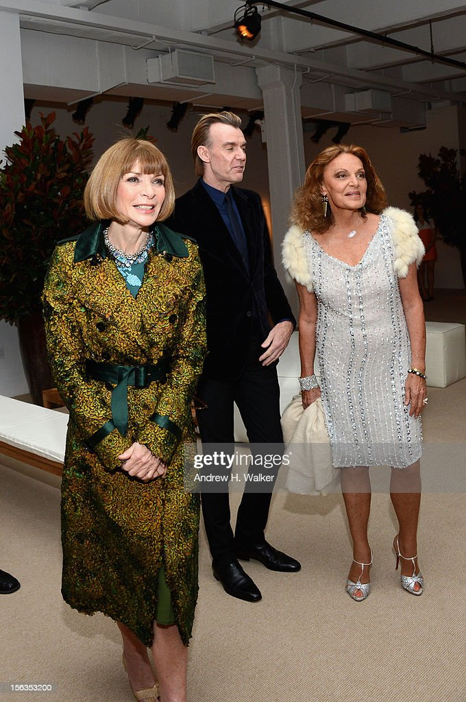Vogue Editor-in-Chief <a gi-track='captionPersonalityLinkClicked' href=/galleries/search?phrase=Anna+Wintour&family=editorial&specificpeople=202210 ng-click='$event.stopPropagation()'>Anna Wintour</a>, Ken Downing and designer Diane Von Furstenberg attend The Ninth Annual CFDA/Vogue Fashion Fund Awards at 548 West 22nd Street on November 13, 2012 in New York City.
