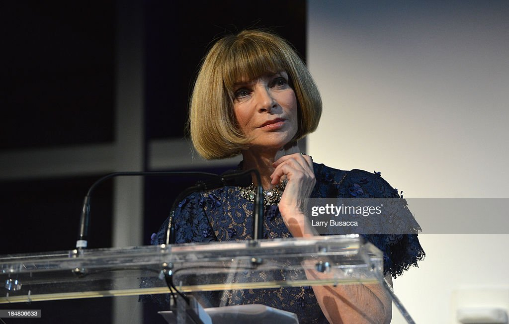 Vogue editor-in-chief <a gi-track='captionPersonalityLinkClicked' href=/galleries/search?phrase=Anna+Wintour&family=editorial&specificpeople=202210 ng-click='$event.stopPropagation()'>Anna Wintour</a> speaks onstage at God's Love We Deliver 2013 Golden Heart Awards Celebration at Spring Studios on October 16, 2013 in New York City.