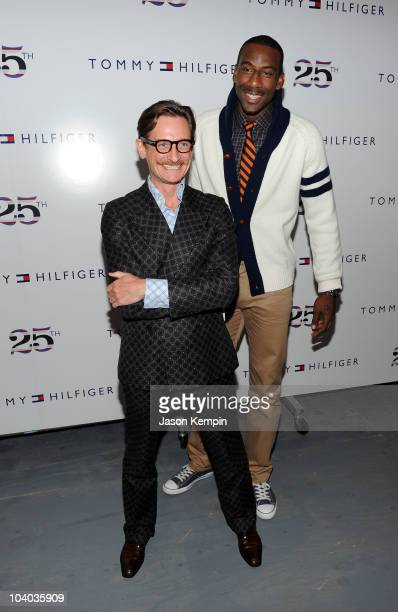 Vogue European Editor at Large Hamish Bowles and NY Knicks Amare Stoudameyer pose at the Tommy Hilfiger Spring 2011 fashion show during MercedesBenz...