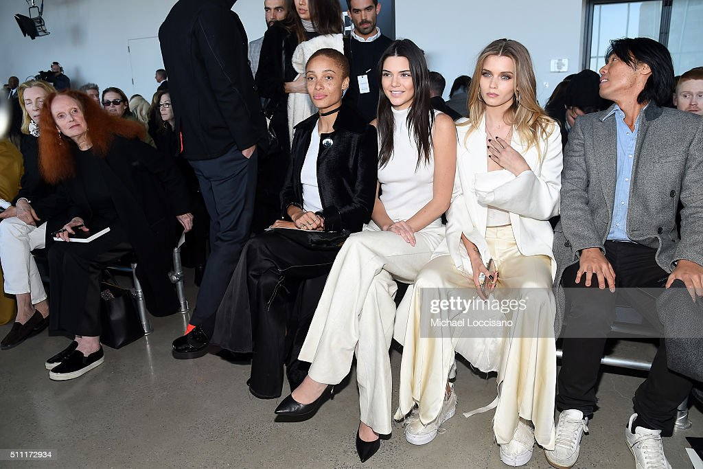 Vogue Fashion Director Tonne Goodman, Former Vogue Creative Director Grace Coddington, models Adwoa Aboah, Kendall Jenner, Abbey Lee Kershaw and guest attend the Calvin Klein Collection Fall 2016 fashion show during New York Fashion Week at Spring Studios on February 18, 2016 in New York City.