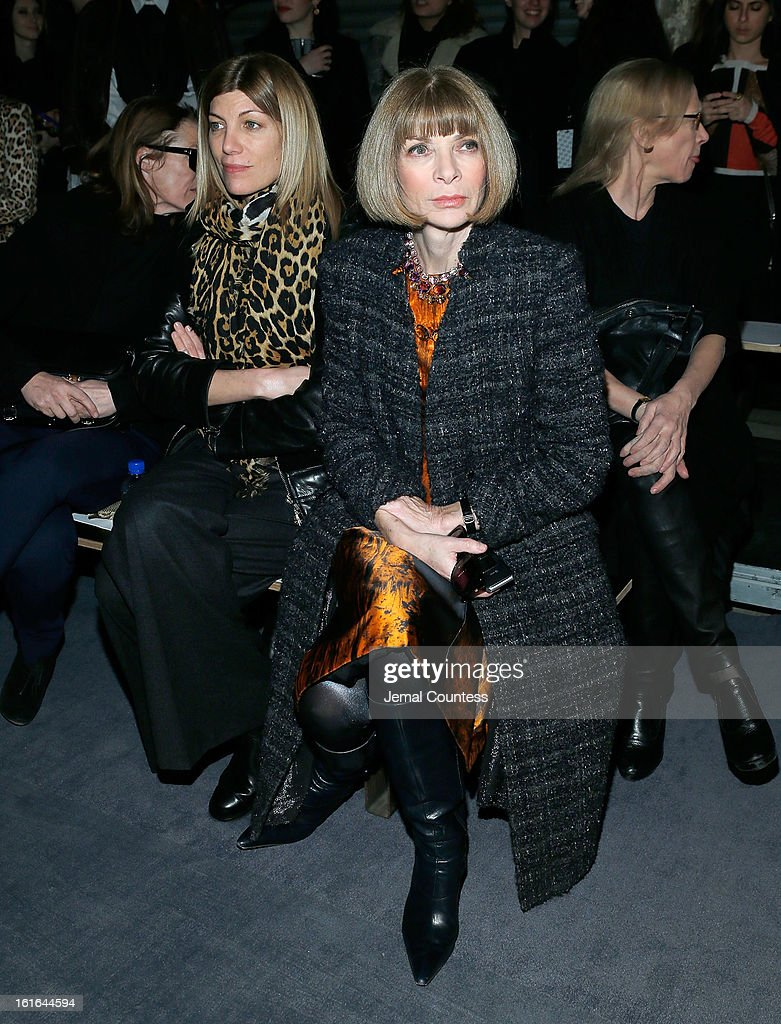 Vogue Fashion Editor <a gi-track='captionPersonalityLinkClicked' href=/galleries/search?phrase=Virginia+Smith&family=editorial&specificpeople=220533 ng-click='$event.stopPropagation()'>Virginia Smith</a> and Vogue Editor-in-Chief <a gi-track='captionPersonalityLinkClicked' href=/galleries/search?phrase=Anna+Wintour&family=editorial&specificpeople=202210 ng-click='$event.stopPropagation()'>Anna Wintour</a> attend the Proenza Schouler fall 2013 fashion show during Mercedes-Benz Fashion Week on February 13, 2013 in New York City.