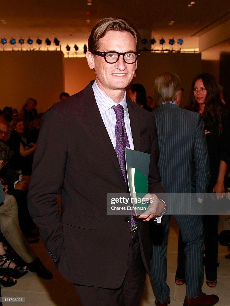 Vogue International editor at large <a gi-track='captionPersonalityLinkClicked' href=/galleries/search?phrase=Hamish+Bowles&family=editorial&specificpeople=217532 ng-click='$event.stopPropagation()'>Hamish Bowles</a> attends Belstaff Spring 2013 at the IAC Headquarters on September 10, 2012 in New York City.