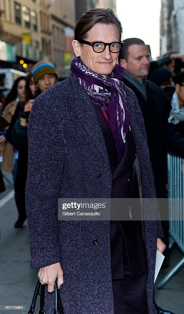 Vogue International Editor at Large <a gi-track='captionPersonalityLinkClicked' href=/galleries/search?phrase=Hamish+Bowles&family=editorial&specificpeople=217532 ng-click='$event.stopPropagation()'>Hamish Bowles</a> attends the Calvin Klein Collection 2013 Mercedes-Benz Fashion Show at 205 West 39th Street on February 14, 2013 in New York City.