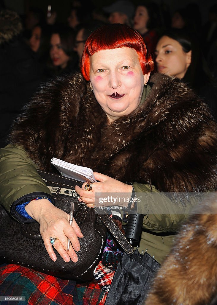 Vogue magazine contributing writer Lynn Yaeger attends Jason Wu during Fall 2013 Mercedes-Benz Fashion Week on February 8, 2013 in New York City.