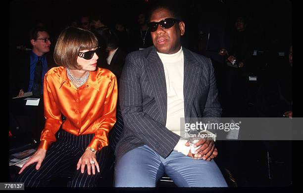 Vogue magazine editor Anna Wintour and Andre Leon Tilley attend the 7th on Sixth Fashion show October 30 1996 in New York City The 7th on Sixth...
