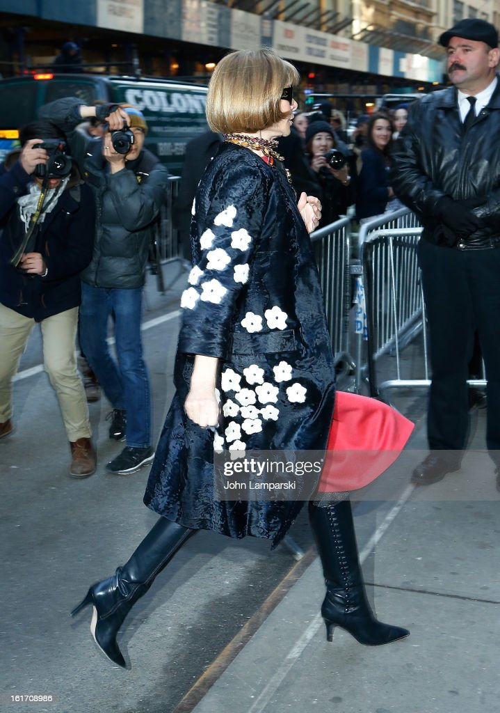 Vogue Magazine Editor-in-Chief Anna Wintour attends Calvin Klein Collection during Fall 2013 Mercedes-Benz Fashion Week on February 14, 2013 in New York City.