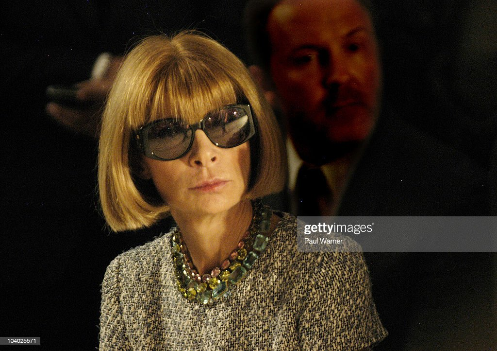 Vogue Magazine editor-in-chief <a gi-track='captionPersonalityLinkClicked' href=/galleries/search?phrase=Anna+Wintour&family=editorial&specificpeople=202210 ng-click='$event.stopPropagation()'>Anna Wintour</a> attends the Simon Spurr Spring 2011 fashion show during Mercedes-Benz Fashion Week at Exit Art on September 12, 2010 in New York City.