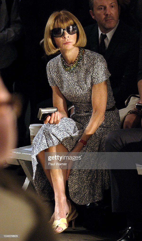 Vogue magazine editor-in-chief <a gi-track='captionPersonalityLinkClicked' href=/galleries/search?phrase=Anna+Wintour&family=editorial&specificpeople=202210 ng-click='$event.stopPropagation()'>Anna Wintour</a>attends the Simon Spurr Spring 2011 fashion show during Mercedes-Benz Fashion Week at Exit Art on September 12, 2010 in New York City.
