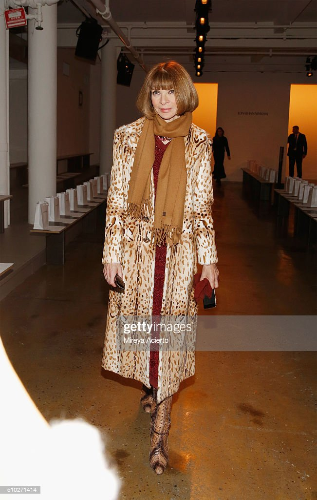 Vogue Magazine fashion editor Anna Wintour attends the Jonathan Simkhai fashion show during Fall 2016 MADE Fashion Week at Milk Studios on February 14, 2016 in New York City.