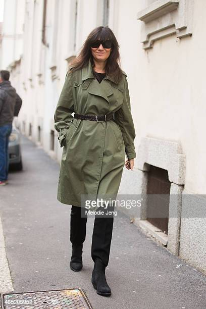 Vogue Paris editorinchief Emanuelle Alt enters the Roberto Cavalli show on February 28 2015 in Milan Italy