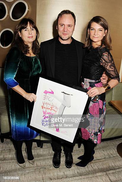 Vogue UK editor Alexandra Shulman winner Nicholas Kirkwood and new Chairman of the BFC Natalie Massenet attend the BFC/Vogue Designer Fashion Fund...