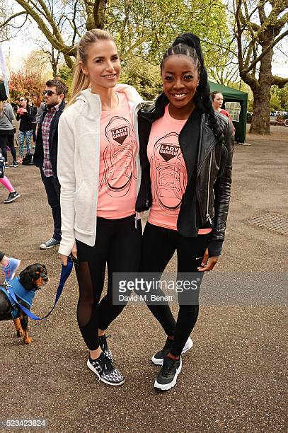 Vogue Williams and AJ Odudu attend the Lady Garden 5K Fun Run in aid of Silent No More Gynaecological Cancer Fund in Battersea Park on April 23 2016...
