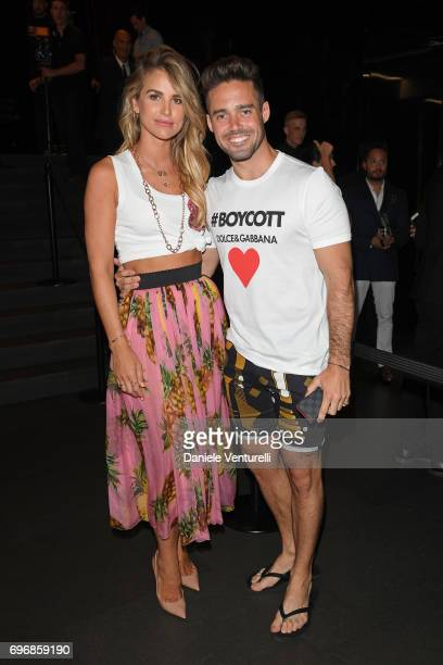 Vogue Williams and Spencer Matthews attends the Dolce Gabbana show during Milan Men's Fashion Week Spring/Summer 2018 on June 17 2017 in Milan Italy