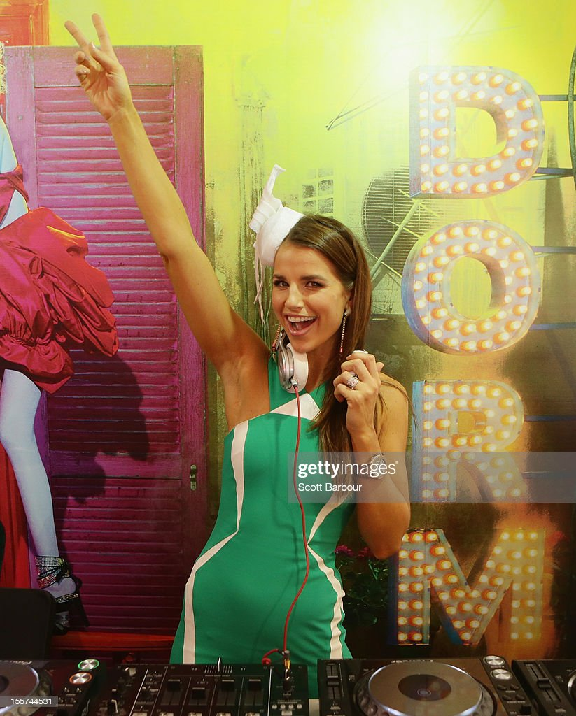 Vogue Williams, the wife of Brian McFadden DJs as she attends the Lavazza marquee on Crown Oaks Day at Flemington Racecourse on November 8, 2012 in Melbourne, Australia.