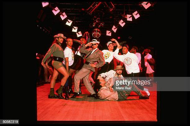 Voguers members of House of Extravaganza group all male strike poses at Tracks a nightclub in voguing dancers strike campy poses ala VOGUE mag