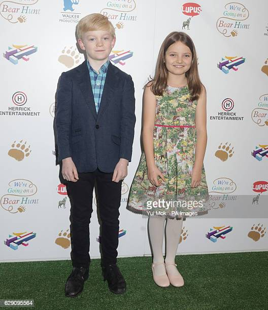 Voice actors in the film Ozzie Latta and Elsie Cavalier attend a screening of We're Going on a Bear Hunt at the Empire Leicester Square in central...