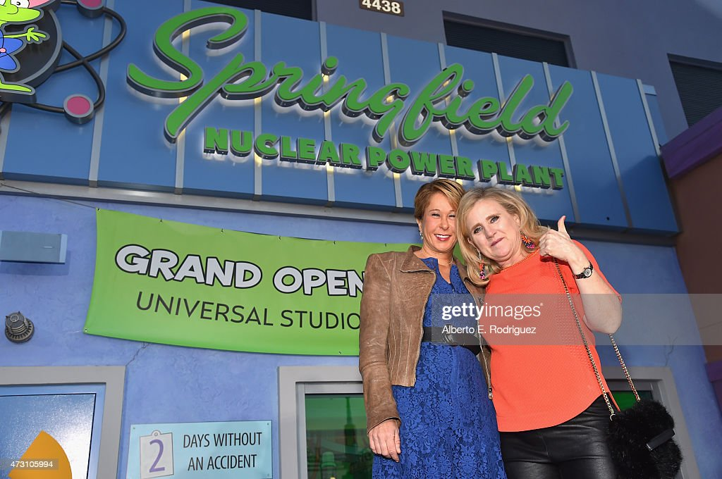 Voice actors Yeardley Smith and Nancy Cartwright attend the 'Taste of Springfield' press event at Universal Studios Hollywood on May 12 2015 in...