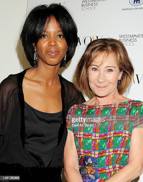 Voice of a Woman founder and CEO Maureen Bryan and Zoe Wanamaker attend a champagne reception introducing the Voice of a Woman Awards featuring a...