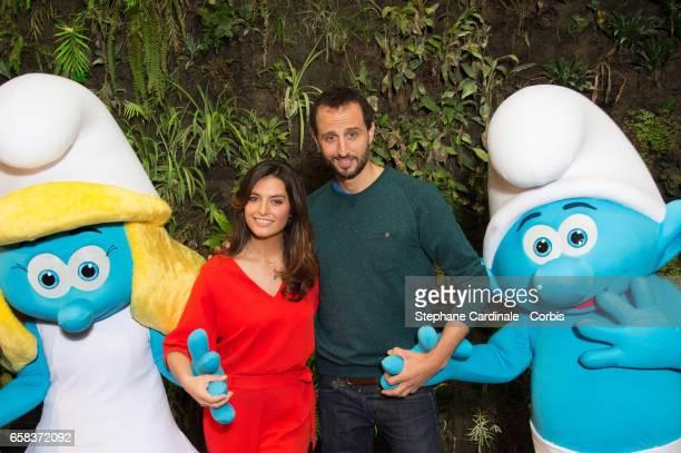 Voice of 'La Schtroumpfette' Laetitia Milot and voice of 'Schtroumpf Maladroit' Arie Elmaleh atten the 'Smurfs The Lost Village Les Schtroumpfs Le...