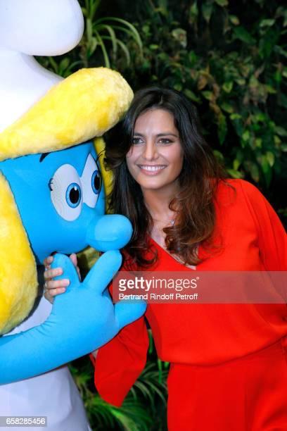 Voice of 'La Schtroumpfette' Laetitia Milot attends the 'Smurfs The Lost Village Les Schtroumpfs Le Village Perdu' Paris Photo Call at Hotel Pershing...