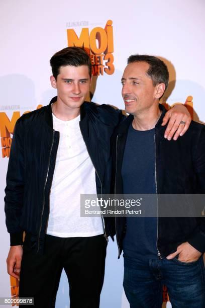 Voice of the movie Gad Elmaleh and his son Noe Elmaleh attend the Despicable Me Paris Premiere at Cinema Gaumont Marignan on June 27 2017 in Paris...