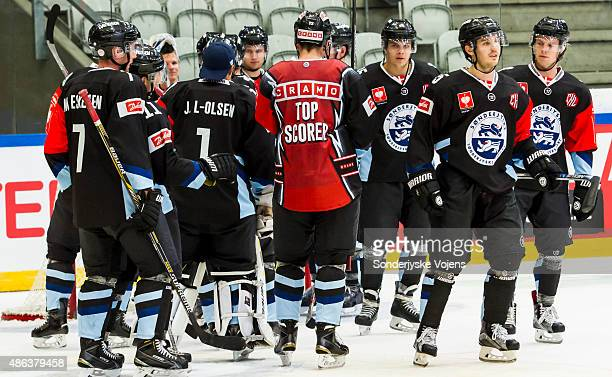 Vojens players are disappointed during the Champions Hockey League group stage game between SonderjyskE Vojens and HV71 Jonkoping on September 3 2015...
