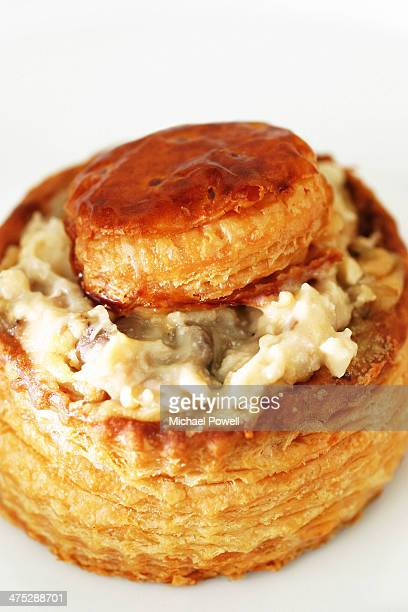Vol au vent on white plate