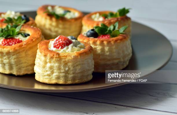 Vol-au-vent with berries and whipped cream