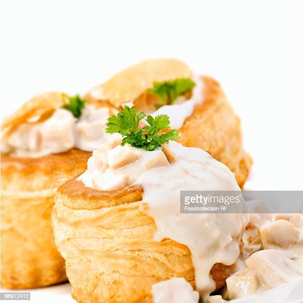 Vol-au-vents filled with ragout fin, close-up