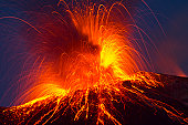 Volcano stromboli with strong eruption