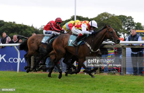 Volcanic Jack ridden by Joe Cornwall wins the Sticky Toffee Pudding Novices' Hurdle Race at Cartmel Racecourse Cartmel Cumbria