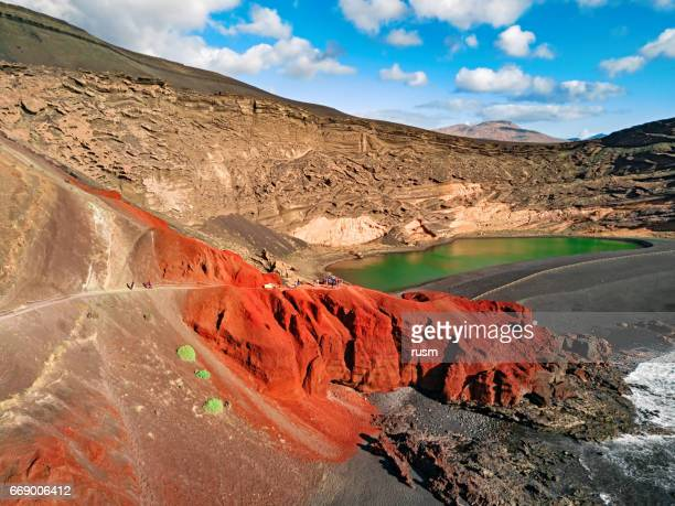 Volcanic Lake El Golfo, Lanzarote, Canary Islands, Spain