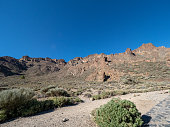 Volcanic landscape in Los Roques, and El Teide Volcano in Tenerife, Canary Islands, Spain