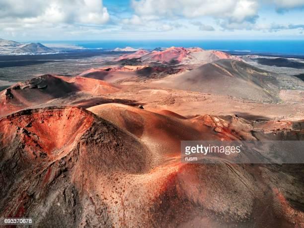 Vulkanische landschap, het Nationaal Park Timanfaya, Lanzarote, Canarische eilanden