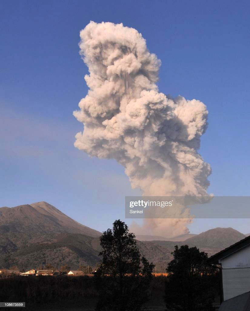 Volcanic smoke from Mt. Shinmoe are seen on February 1, 2011 in Takaharu, Miyazaki, Japan. 500 households were recommended to evacuate.