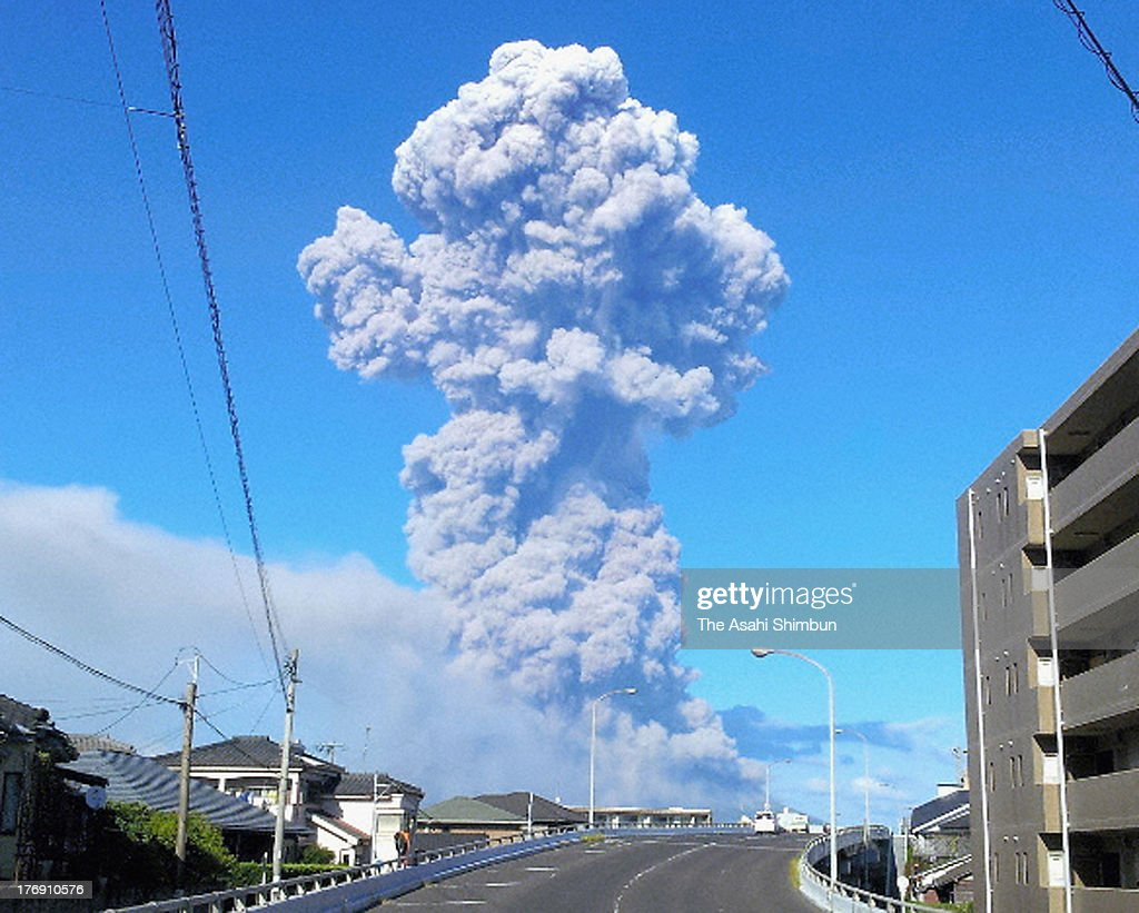 Volcanic smoke spews from Mount Sakurajima on August 18, 2013 in Kagoshima, Japan. The Japan Meteorological Agency announced that Mount Sakurajima's volcanic ash was spewed to reach 5,000 meters into the sky. Massive amounts of ash covered Kagoshima City, prompting railway operators to temporarily stop train operations to remove ash from tracks. There were no reports of injuries.The volcano is located in the southern Japanese main island of Kyushu.