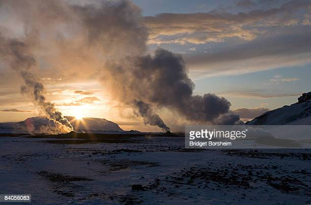 volcanic vents steam in winter sunrise, Iceland