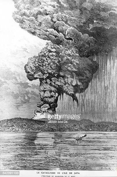 Volcanism Eruption of the volcan Krakatoa Krakatau in the sundastrait on August 11 1883Beginning of the lager eruptions which led to the final...