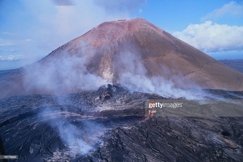 Volcano Cinder Cone with Flowing Lava