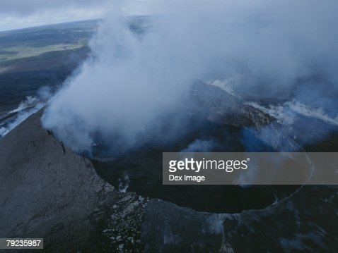 Volcano crater, Big Island, Hawaii, elevated view : Stock Photo